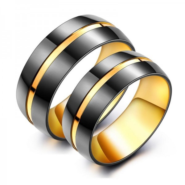 Black And Yellow Two-tone Simple Couples Rings For Her And Him