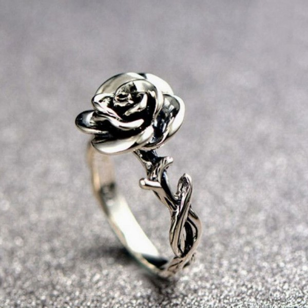 Adjustable Rose Shaped Promise Ring For Her In 925 Sterling Silver Perfect Valentine's Day Gift