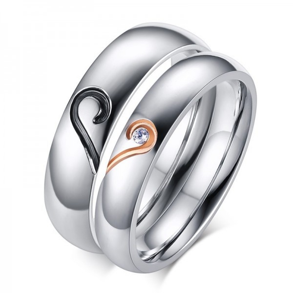 Titanium Steel Matching Heart Couple Ring For Valentine's Day Gift