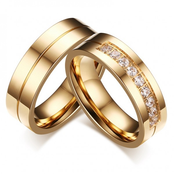 Yellow Gold Plated Titanium Steel Couple Rings