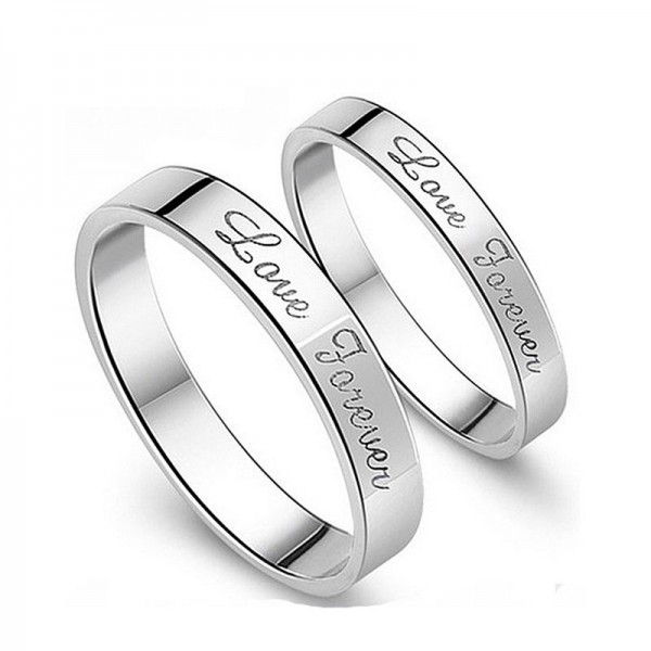 925 Sterling Silver Love Forever Promise Ring For Couple With White Gold Plated