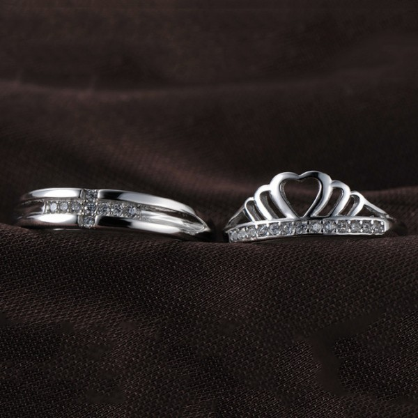 Couple's Adjustable Crown ring For Him And Her In 925 Sterling Silver