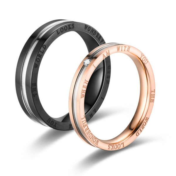 Engravable Couple's I Am With You Titanium Steel Ring