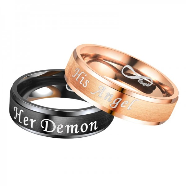 Couple's Engravable Her Demon His Angel Infinite Love Promise Ring in Stainless Steel