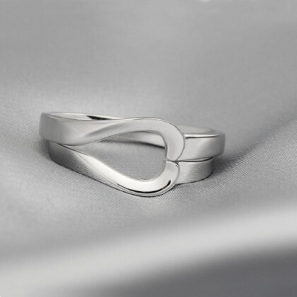 Couple's Engravable Matching Heart Promise Ring In Sterling Silver