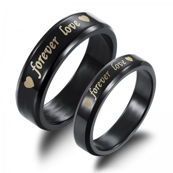 Black Titanium Forever Love Couple Ring For Him And Her