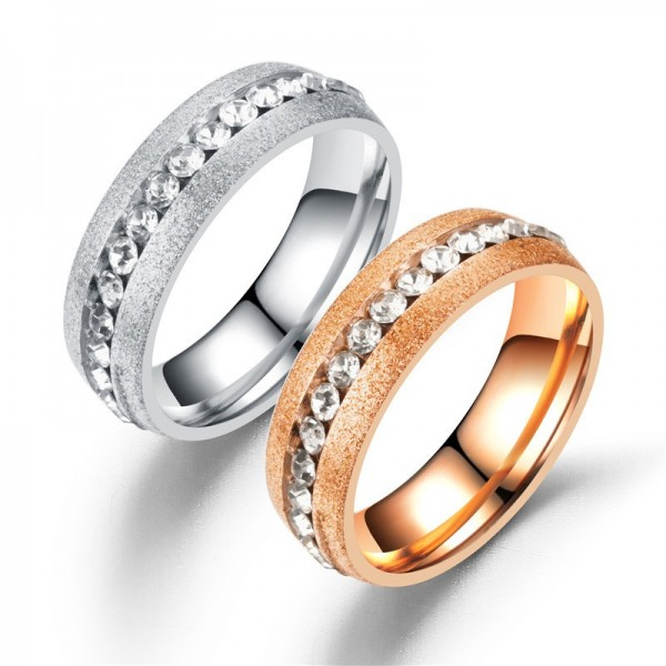 Engravable Couple's Silver And Rose Frosted Ring With Multi Stone