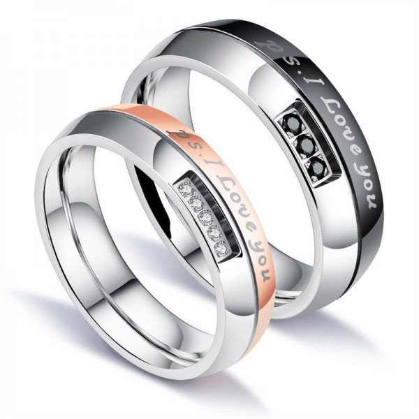 Engravable I Love You Couple Ring For Him And Her In Titanium