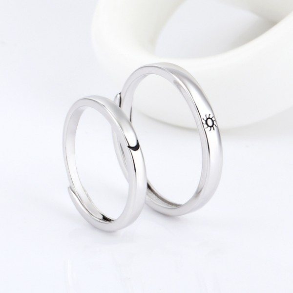 Engravable Simple Sun And Moon Adjustable Couple Rings For Her And Him