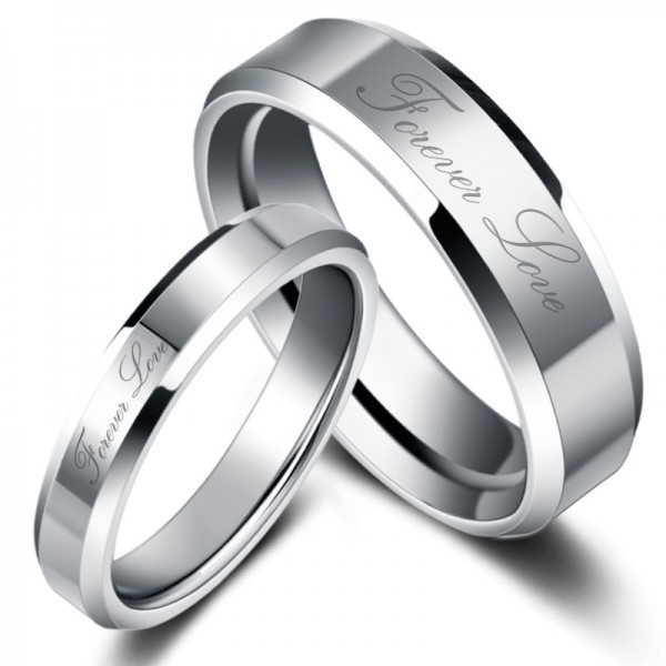 Engravable Forever Love Tungsten Couple Rings For Him And Her