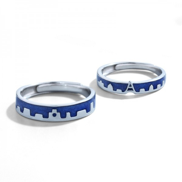 Original Design Castle in the Sky Couple Rings For Her And Him In 925 Sterling Silver