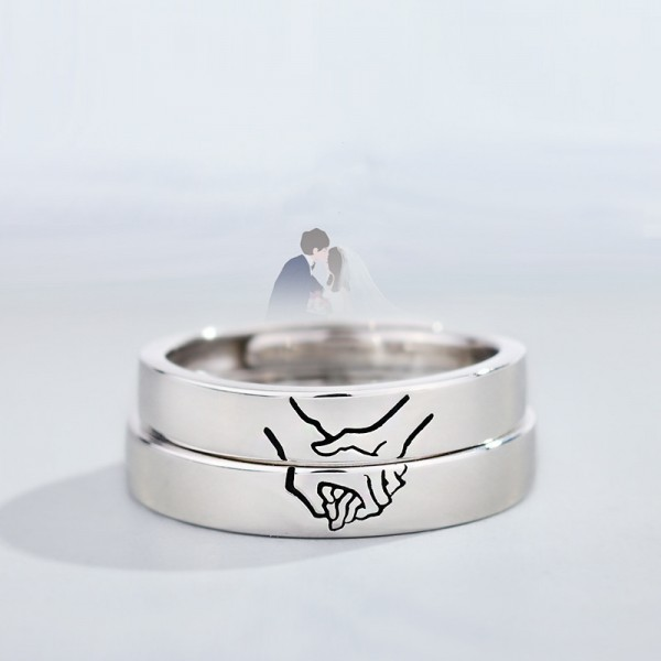 Engravable Couple's Matching Holding Hands Ring In 925 Sterling Silver