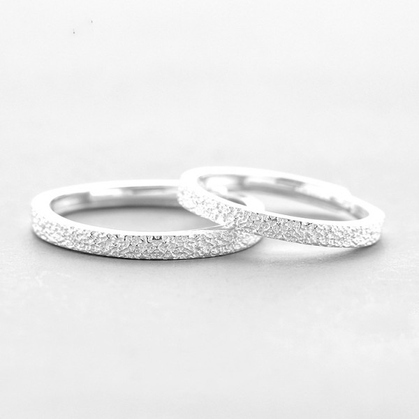 Adjustable Simple Stone Grain Frosted Ring For Couples In 925 Sterling Silver