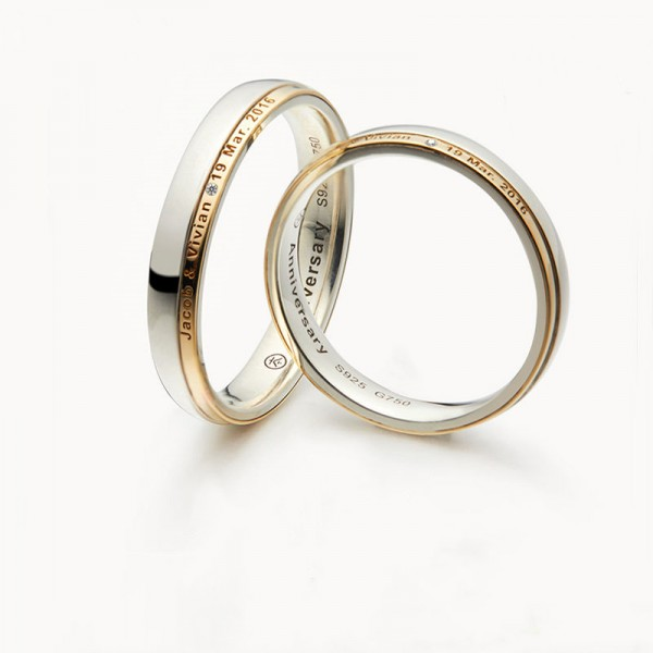 Engravable Anniversary Rings For Couples In 18K Gold And 925 Sterling Silver