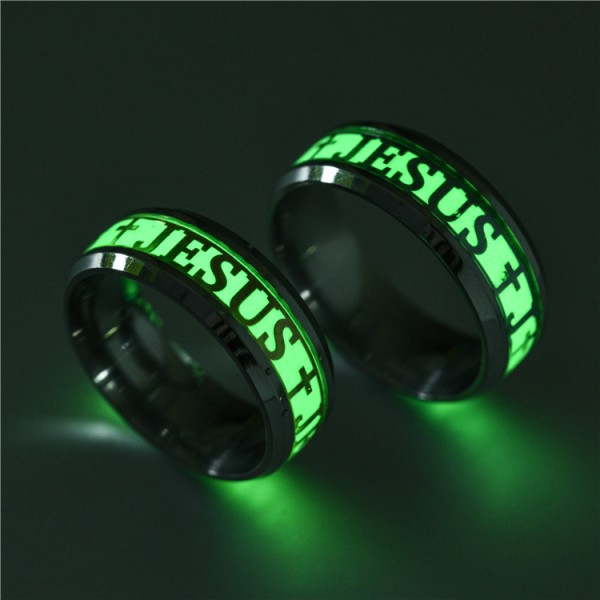 Stainless Steel Engravable Luminous JESUS Couple Ring