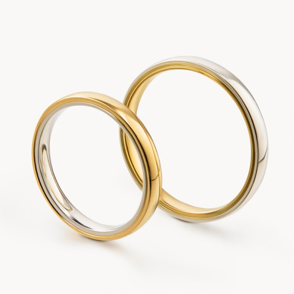 Original Engravable Sterling Silver Plated 18K Gold Simple Couple Ring