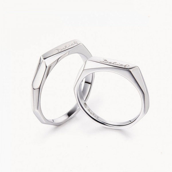 Original Engravable Sterling Silver Plated White Gold Belief Couple Ring
