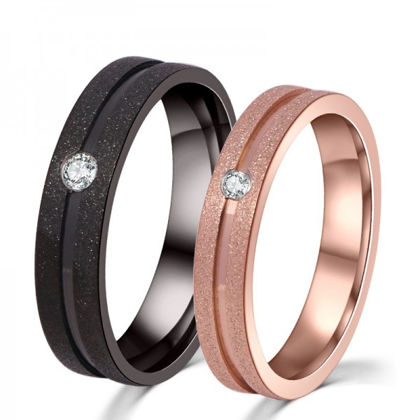 Engravable Simple Titanium Frosted Couple Rings For Him And Her