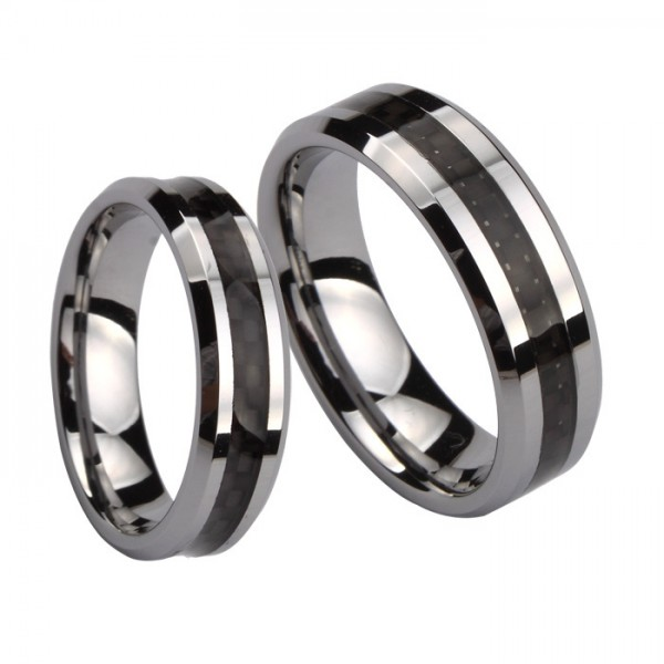 Engravable Silver And Black Two Tone Simple Tungsten Couple Rings For Him And Her
