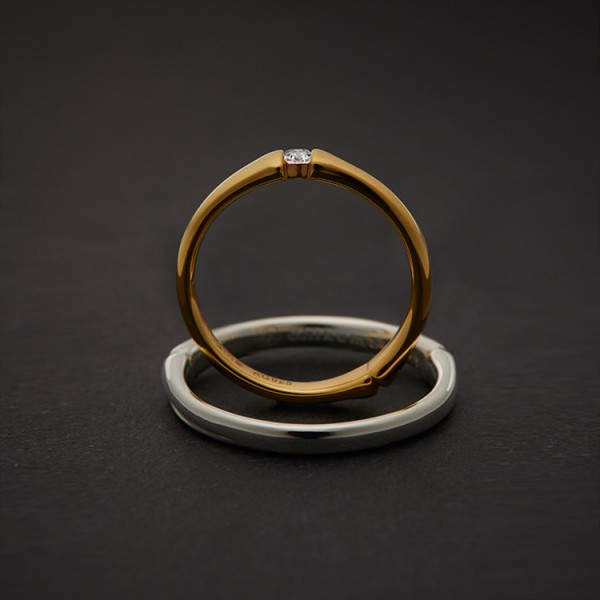 Original Design Couple's Bamboo Shape Promise Ring For Him And Her