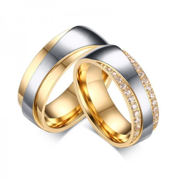 Engravable Titanium Yellow and Silver Couple Ring With Round Cut Cubic Zirconia