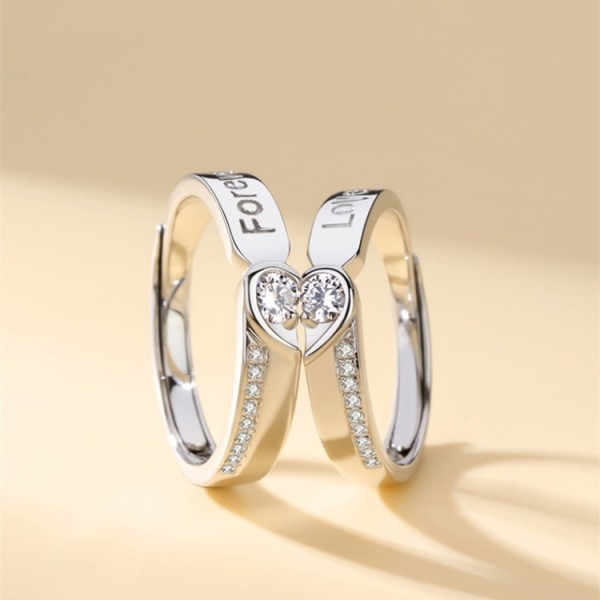 Adjustable Couple's Matching Heart Promise Rings In Sterling Silver
