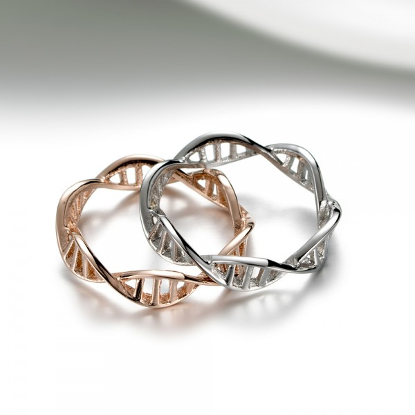 Personalise DNA Double Helix Gene Couple Rings For Him And Her
