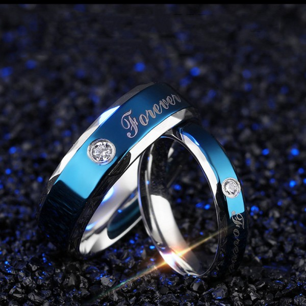 Engravable Blue Forever Love Promise Ring For Couple In Titanium