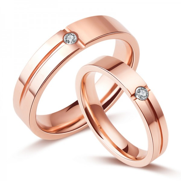 Engravable Couple's Tungsten Plated 18k Rose Gold Promise Ring For Her And Him