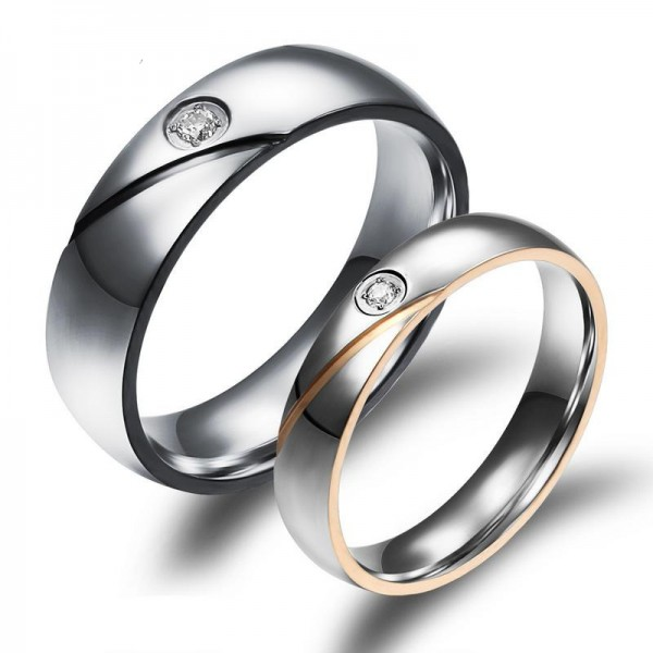 Engravable Simple Stainless Steel Couple Ring With Cubic Zirconia