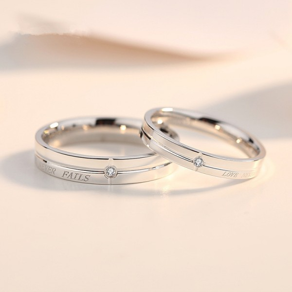 Engravable Couple's Love Never Fails Promise Ring In Sterling Silver Black Silver Optional