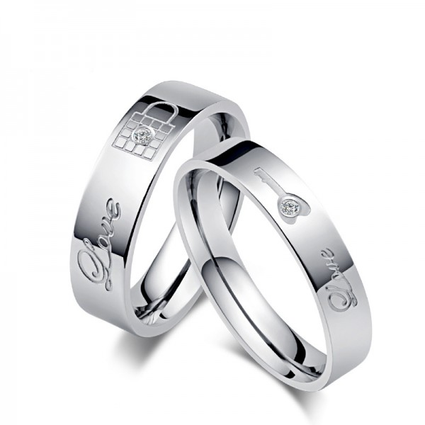 Engravable Titanium Lock and key Couple Rings