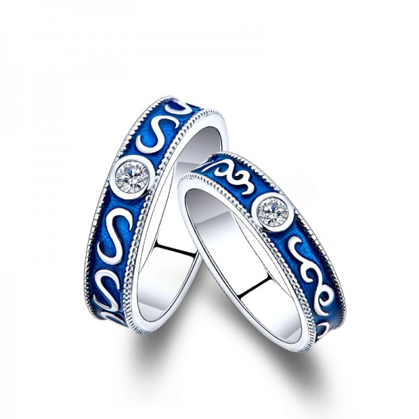 Engravable Couple's love In The Deep Blue Sea Promise Ring In Sterling Silver Plated Platinum