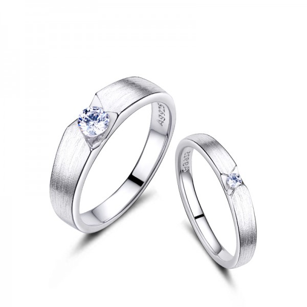 Engravable Couple's Sterling Silver Plated Platinum Frosted Wedding Ring Engagement Ring