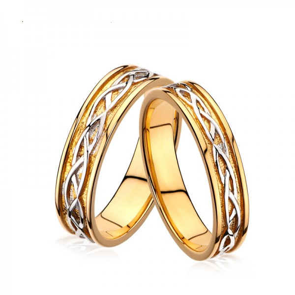 Engravable Couple's Sterling Silver Plated 18K Gold Knot Promise Ring