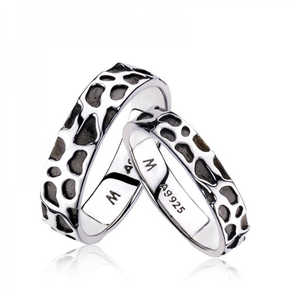 Engravable Sterling Silver Plated Platinum Leopard Print Promise Ring For Couples