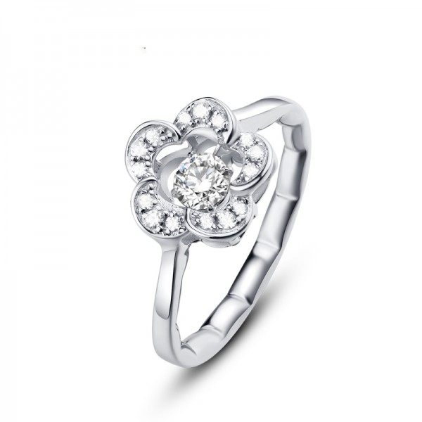 Engravable Sterling Silver Plated Platinum Flowers Promise Ring For Her