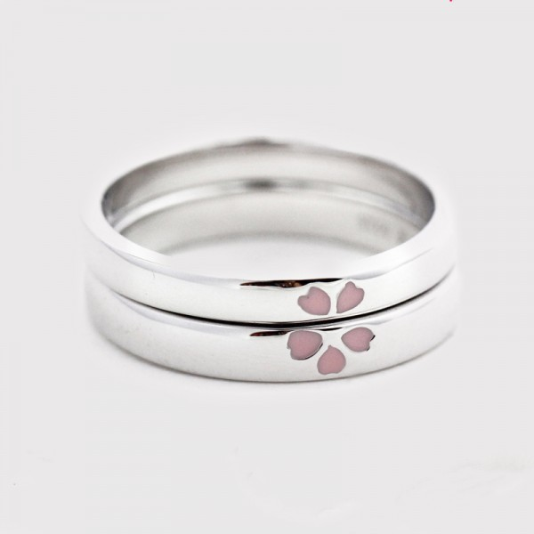 Engravable Sterling Silver Cherry blossoms Promise Ring For Couples