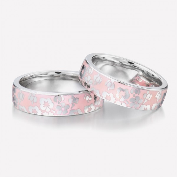 Engravable Cherry blossoms Promise Ring For Couples In Sterling Silver