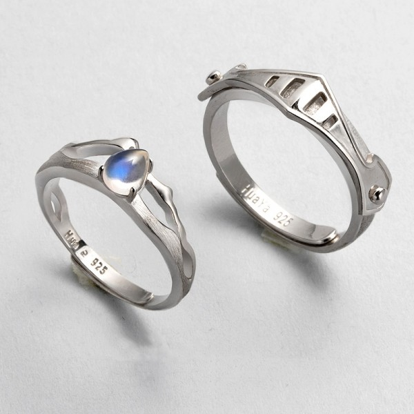Princess And Knight Adjustable Couple Rings In S925 Sterling Silver