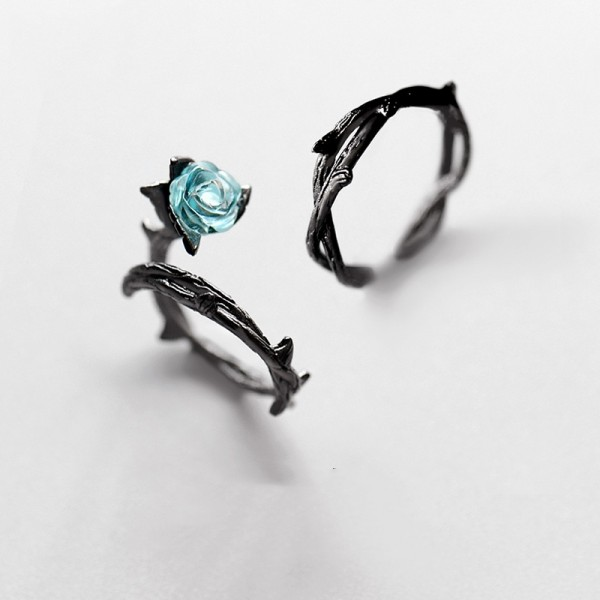 Original Black Thorn Roses Couple Ring In Sterling Silver