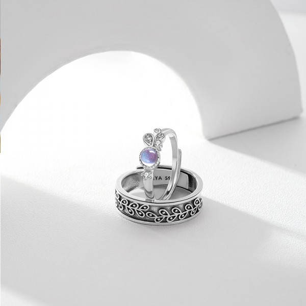 Adjustable Provence Lavender Promise Ring For Couples In Sterling Silver