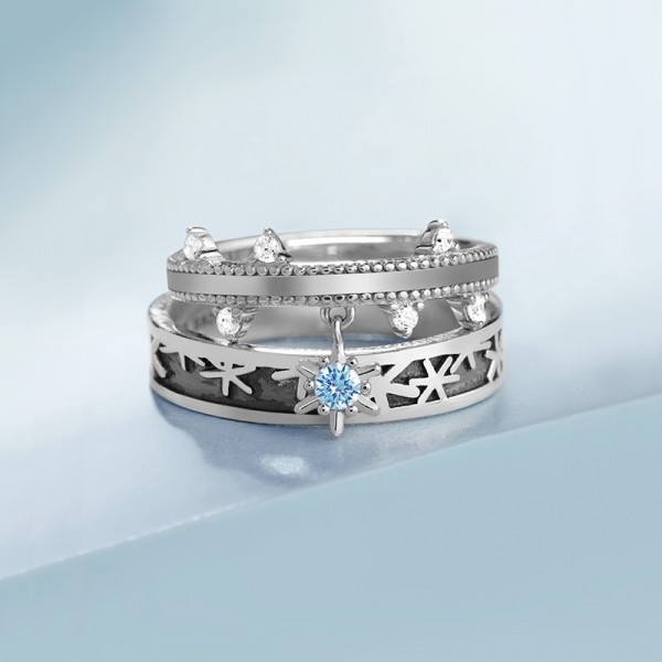 Original Missing Snowflakes Promise Ring For Couples In Sterling Silver