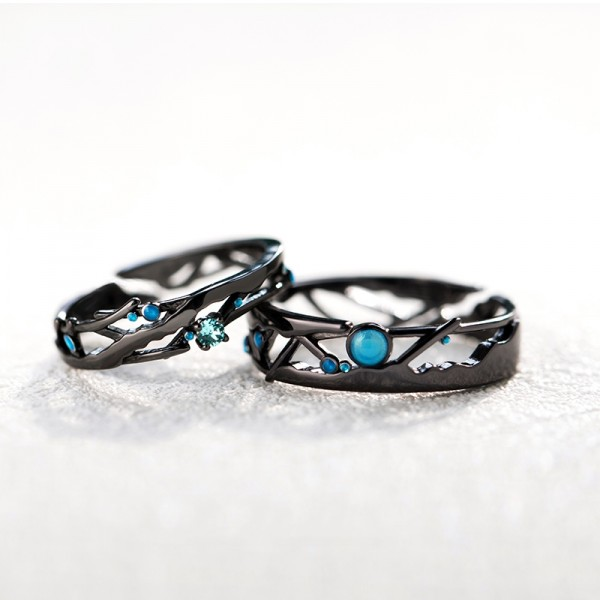Original Black Geometric Matching Promise Rings For Couples In 925 Sterling Silver