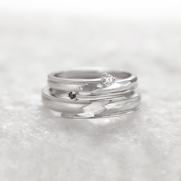 Engravable Heartbeat Promise Ring For Couples In Sterling Silver