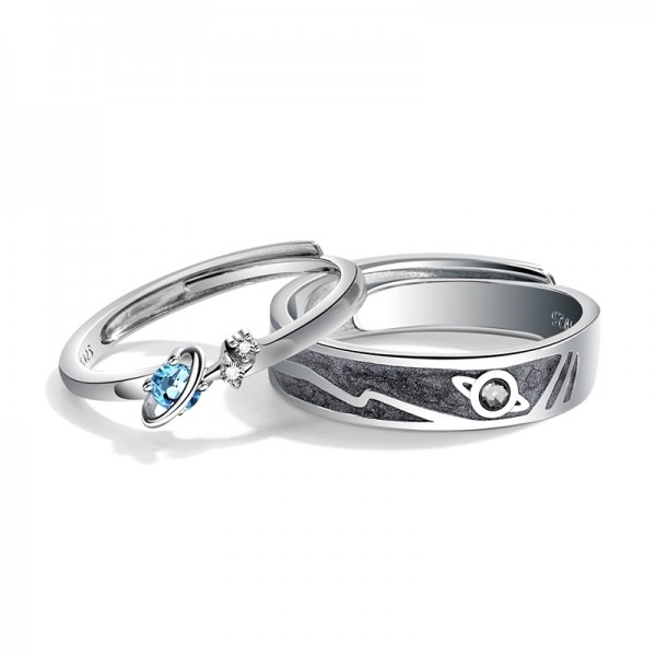 Engravable You Are My Whole World Promise Ring For Couple In Sterling Silver
