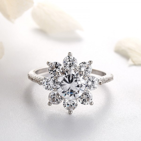 Engravable Snowflake Promise Ring For Her In Sterling Silver