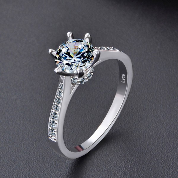 Engravable Solitaire with Side Accent Promise Ring For Her In Sterling Silver
