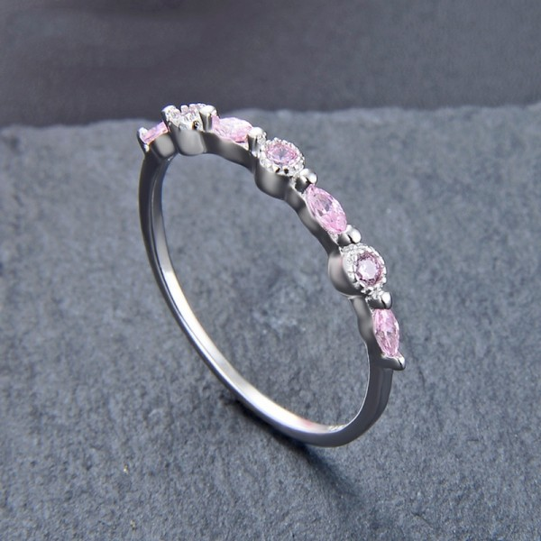 Engraved Promise Band Ring For Her In Sterling Silver White Pink Purple Optional