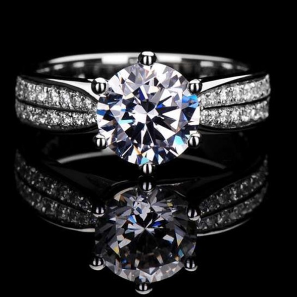 Engravable Solitaire with Side Accent Round Cut Moissanite Promise Ring For Her